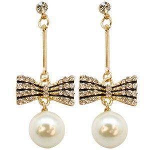 Jewelry - 3/$15! Rhinestone Bow and Pearl Drop Earrings